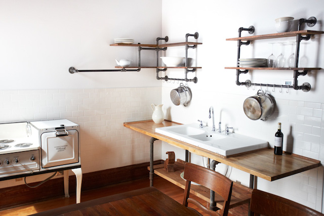 hudson valley ny milliner inn industrial chic shelves