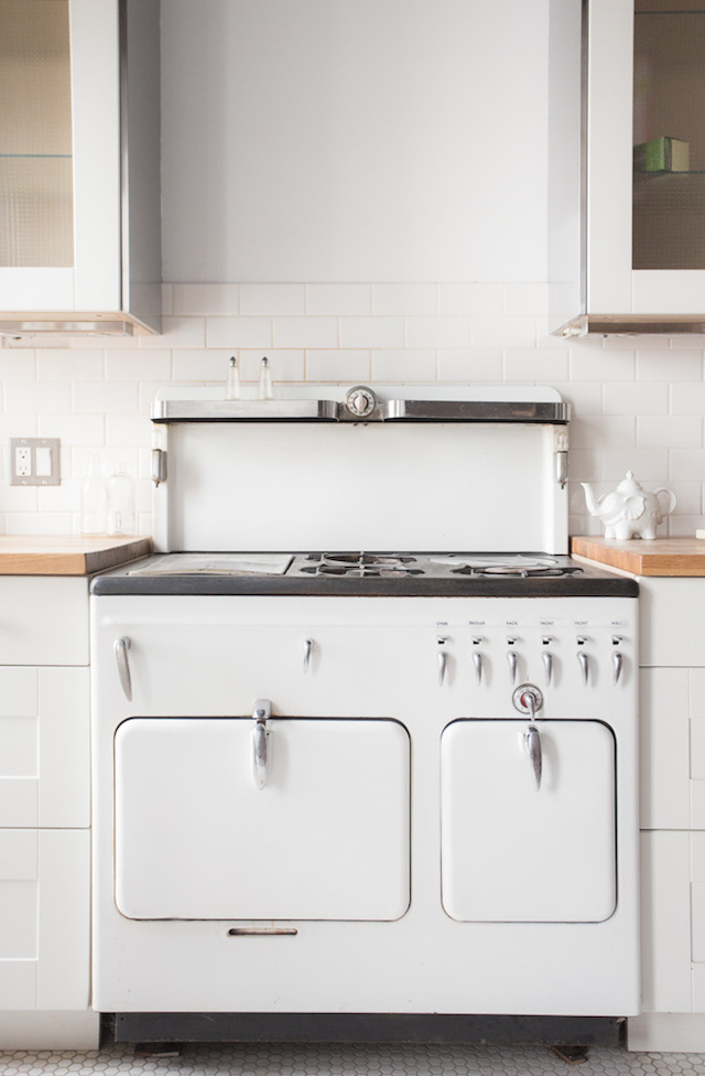 Kitchen With Black Electric Stove Installed
