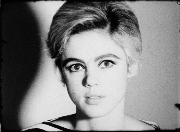 "A capture of Edie Sedgwick,  Warhol's muse, from his video series, ""Screen Tests."""
