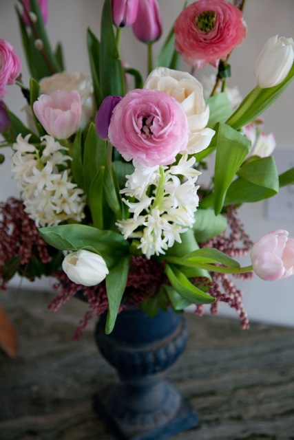 spring-bouquet-ranunculus  hyacinth and tulips