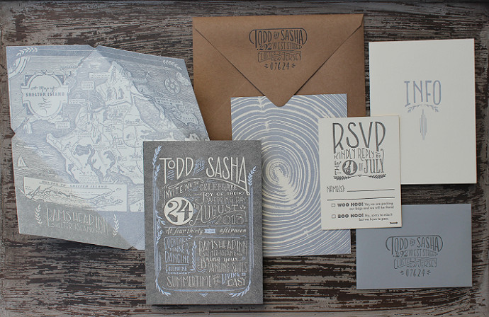 ladyfingers letterpress wedding invitation suite