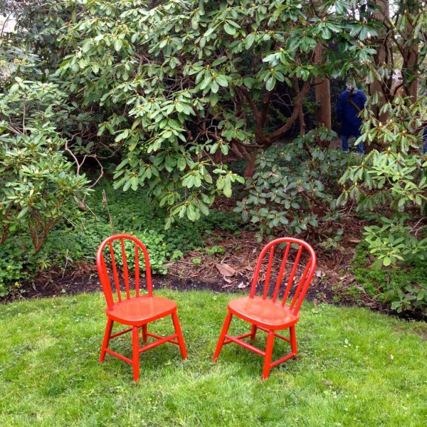 Sakonnet Gardens red chairs