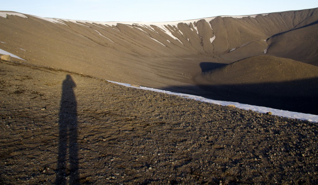 Evening shadows at Hverfjall Crater