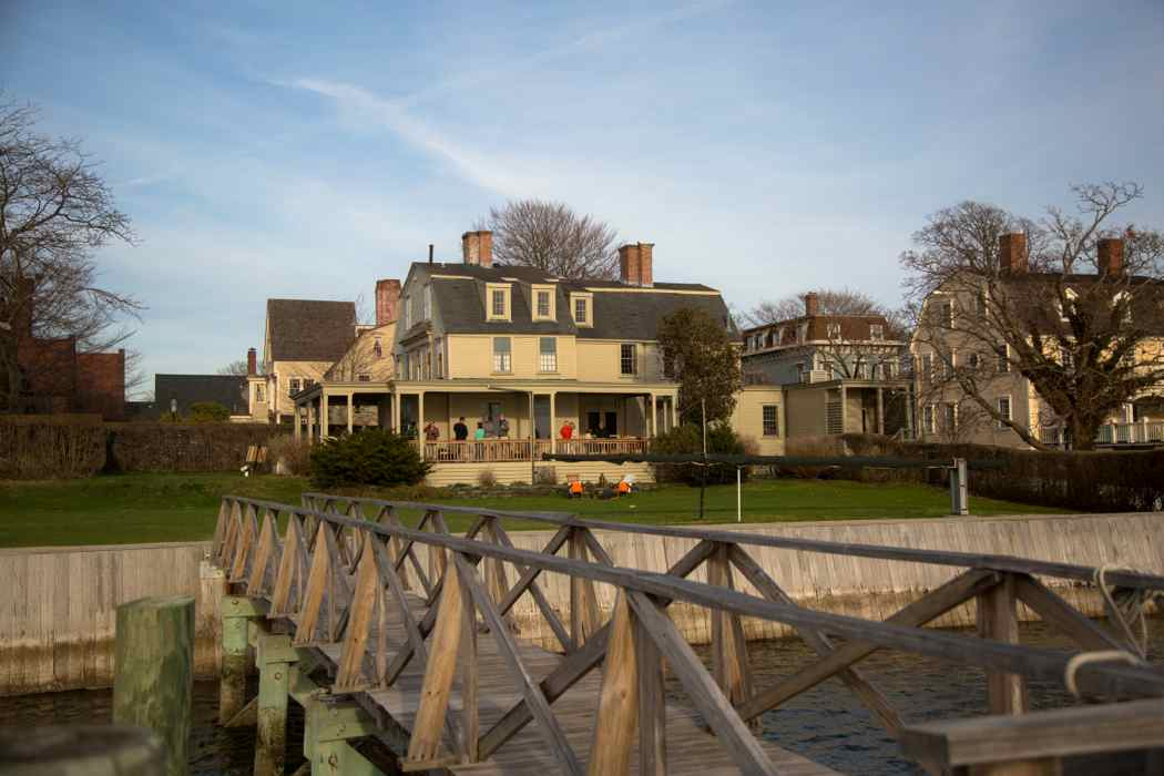 yellow colonial house on point in newport ri