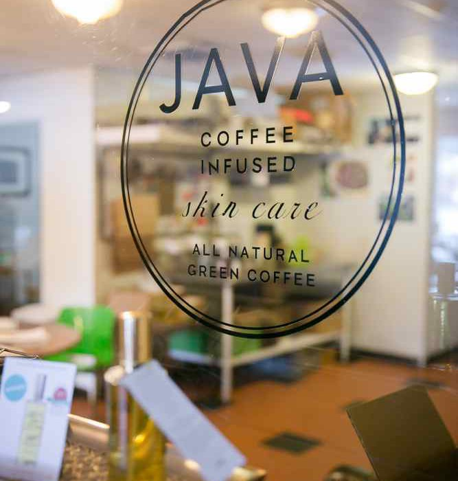 java skincare retail shop window
