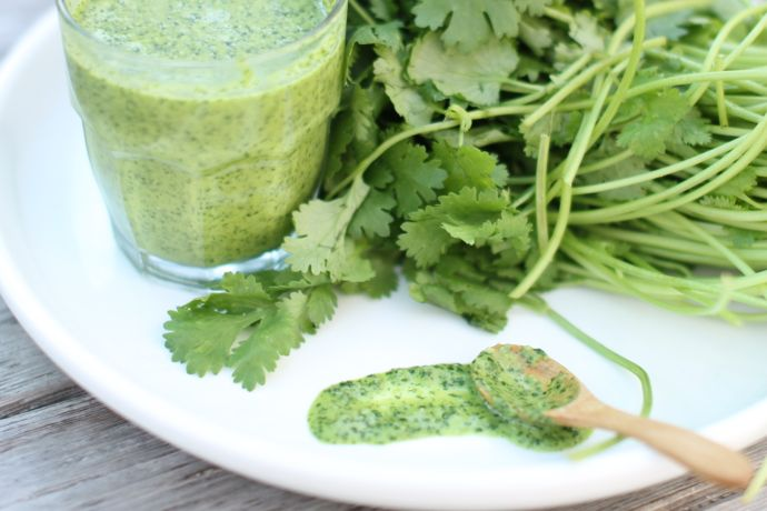 Fresh cilantro lends its flavor and color to this versatile sauce