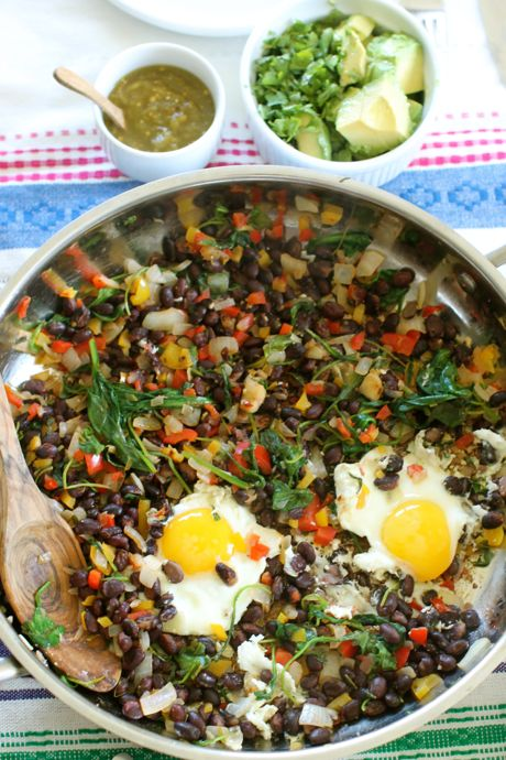 Hot Popping Black Beans and Eggs
