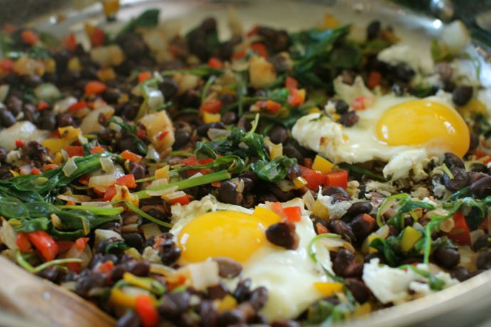 Hot Poppin Black Beans and Eggs