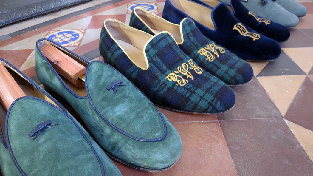 alden_hawkins_duende shoes loafers on vintage tile floor newport ri
