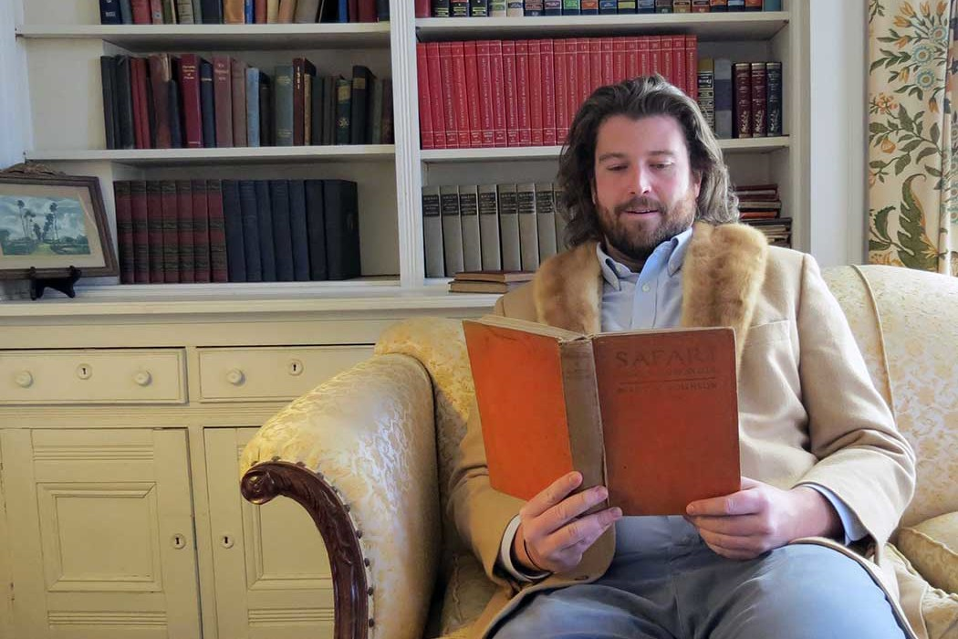 alden_hawkins_duende shoes camel hair blazer with mink collar fireplace newport ri vintage book library