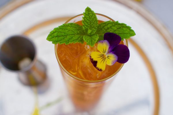 Pimm's Cup with Johnny jump up garnish