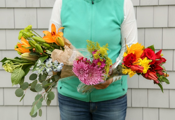 Having a variety of colors, flowers and textures makes for an interesting bouquet that doesn't have to cost a lot.