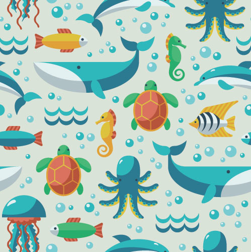 World Oceans Day sea life illustration