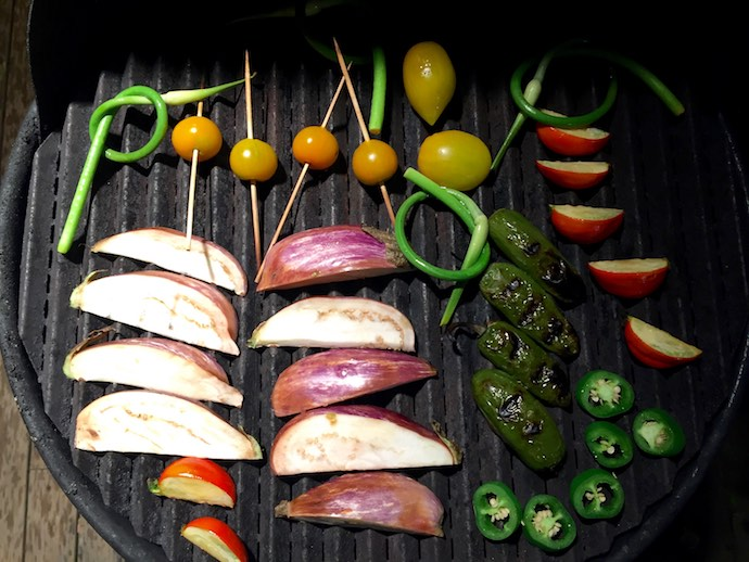 3 fresh vegetable on grill
