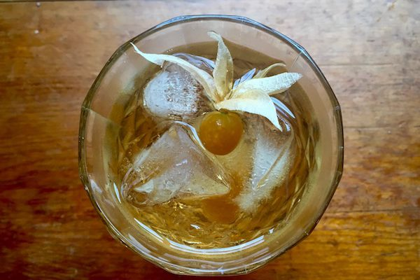 carnival squash infused rye whiskey old fashioned