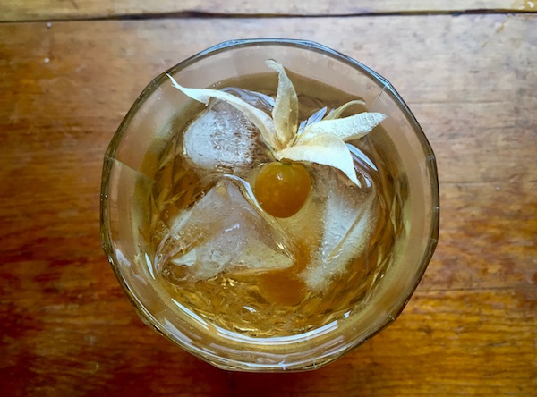 squash infused rye whiskey old fashioned cocktail
