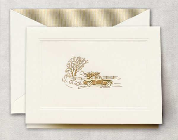 crane stationery holiday car with gold car