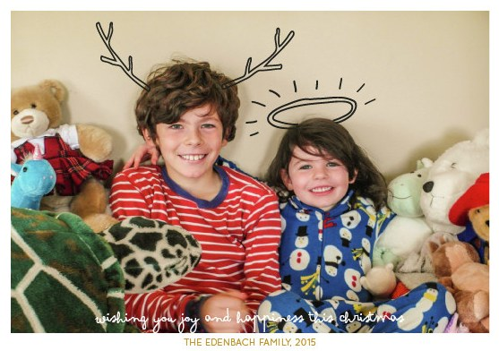 christmas card with kids and stuffed animals