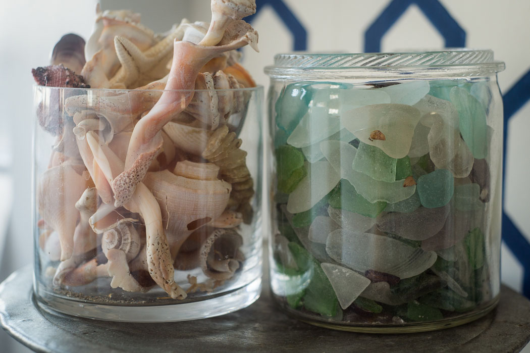 sea shells and sea glass in jars