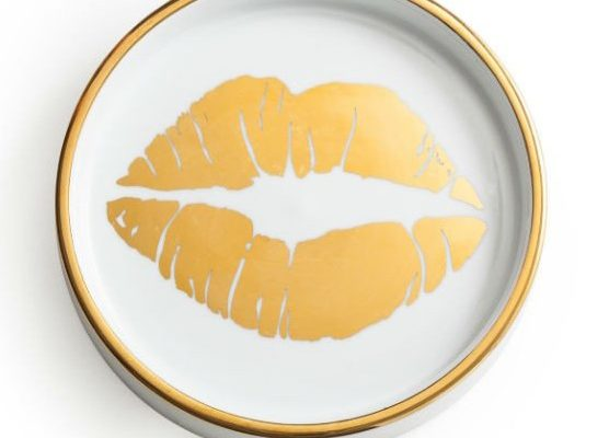 kisses gold wine coaster
