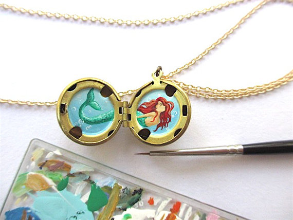 tiny mermaid painting necklace