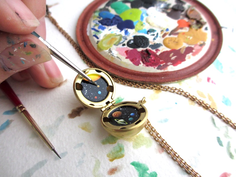 tiny khara ledonne solar system painting necklace