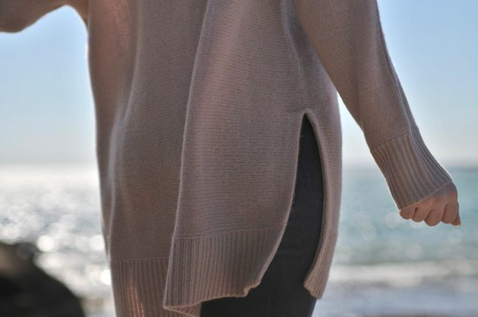 cashmere sweater at the beach
