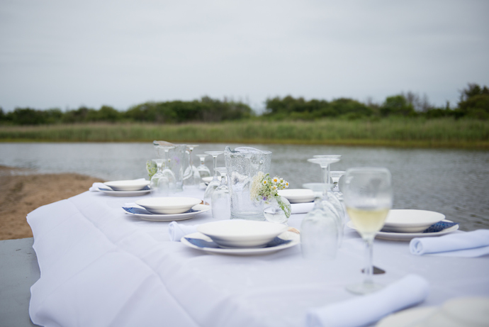 oyster farm to table dinner table setting