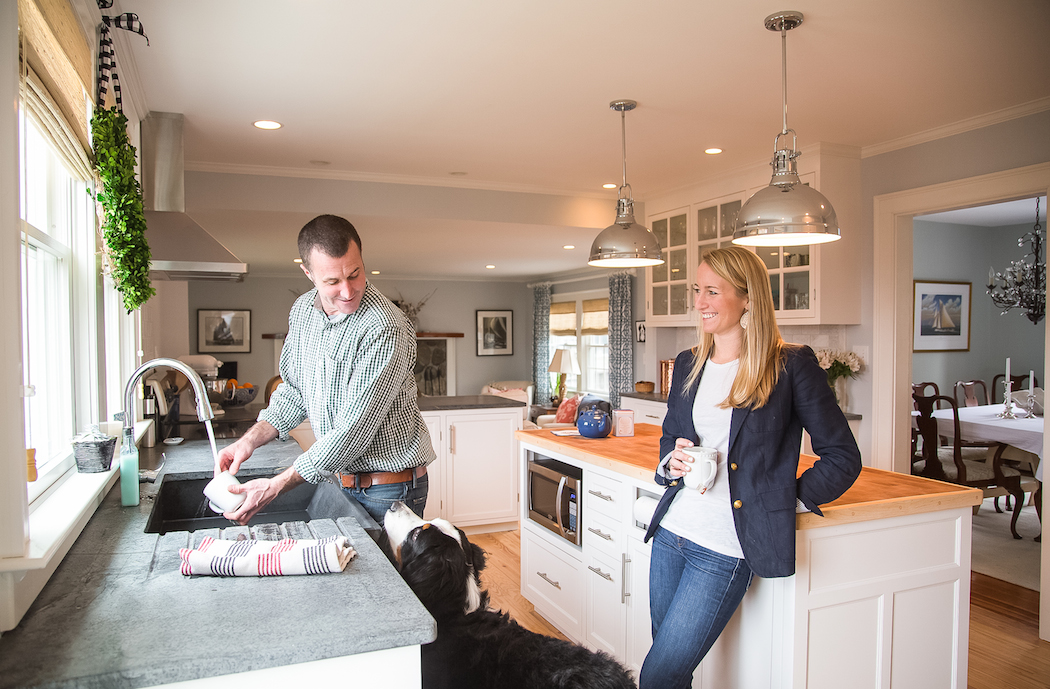 maria and andrew coughlin in their tiverton kitchen