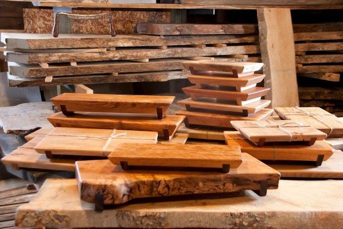 Modern Rustic Furniture From Wood And Wine Barrels Schopfer Woodworking Cutting Boards